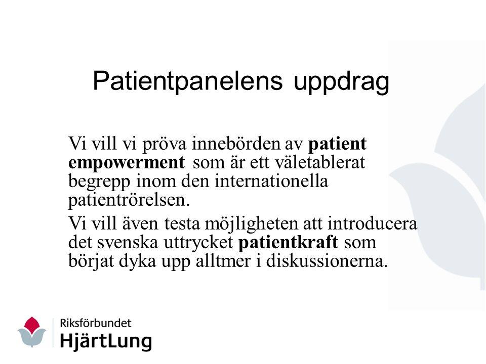 Patientpanelens uppdrag Vi vill vi pröva innebörden av patient empowerment som är ett väletablerat begrepp inom den internationella patientrörelsen.