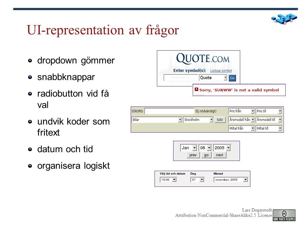 Lars Degerstedt Attribution-NonCommercial-ShareAlike2.5 License UI-representation av frågor dropdown gömmer snabbknappar radiobutton vid få val undvik koder som fritext datum och tid organisera logiskt