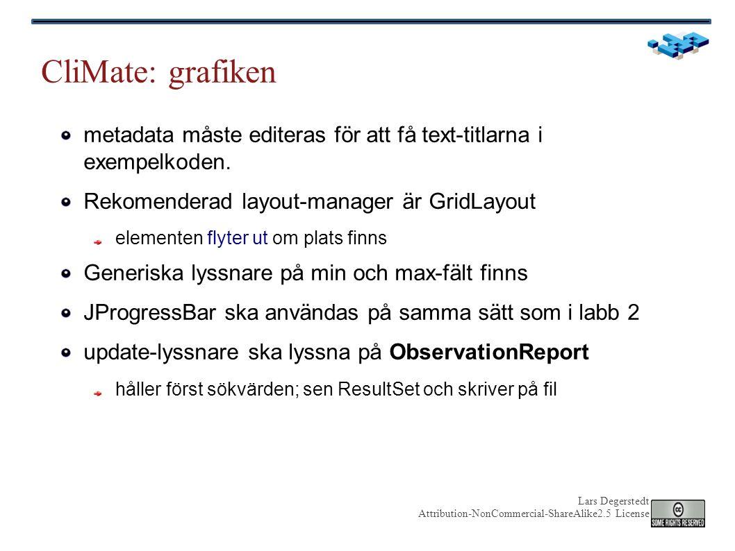 Lars Degerstedt Attribution-NonCommercial-ShareAlike2.5 License CliMate: grafiken metadata måste editeras för att få text-titlarna i exempelkoden.