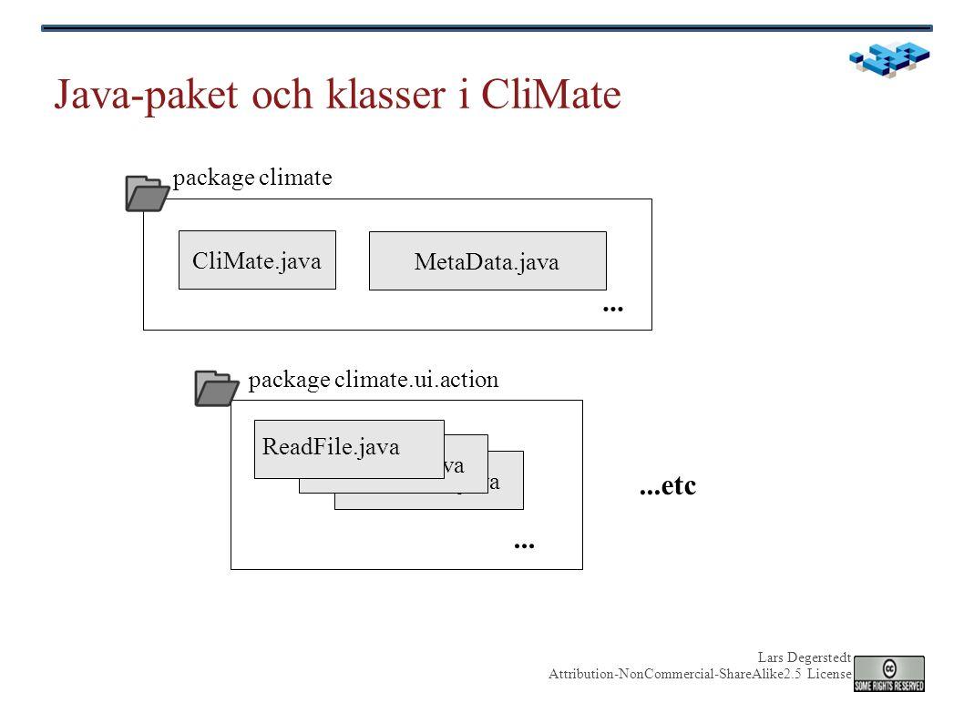 Lars Degerstedt Attribution-NonCommercial-ShareAlike2.5 License Java-paket och klasser i CliMate Utterance.java CliMate.java MetaData.java Utterance.java...
