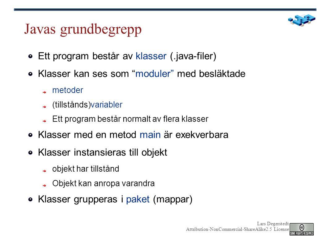 Lars Degerstedt Attribution-NonCommercial-ShareAlike2.5 License Läsning från fil Tip #1: Använd Reader och Writer för plattformens defaultkodning Tip #2: Håll reda på vilken kodning filen har Källa: http://www.jorendorff.com/articles/unicode/java.html // WARNING: does not specify encoding BufferedReader r = new BufferedReader(new FileReader(FILE_NAME)); String line = r.readLine(); BufferedReader r = new BufferedReader( new InputStreamReader(new FileInputStream(FILE_NAME), ISO-8859-1 )); String line = r.readLine(); OBS: Generell Reader från filström OBS: specifik filläsare med fixerad kodning Titta i javadoc för detaljer!