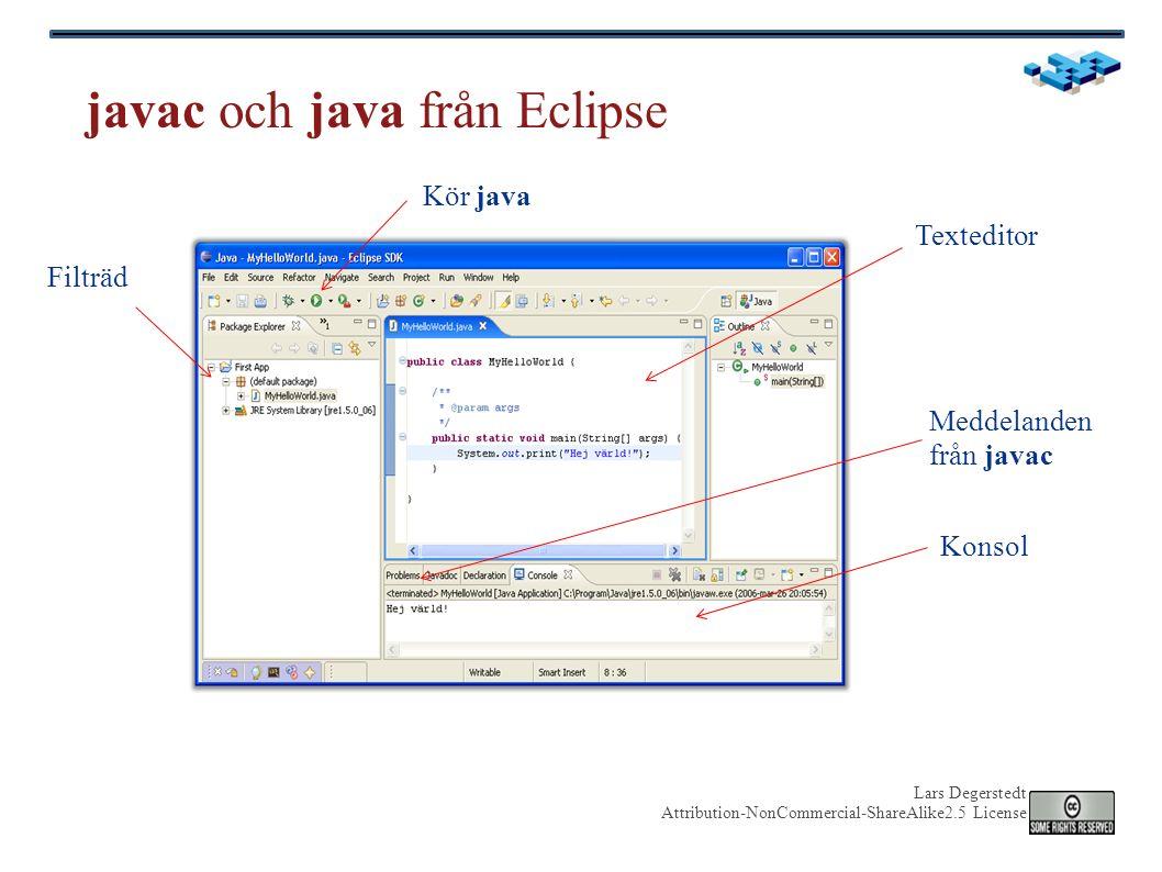 Lars Degerstedt Attribution-NonCommercial-ShareAlike2.5 License Syntax för ett en Java-klass public class MyHelloWorld { public static void main(String[] args) { System.out.println( Hej Värld ); } Klassnamn Nyckelord Separator Klass- deklaration Atomisk sats/kommando/metodanrop Satsavslut Metod- block Metod- deklaration
