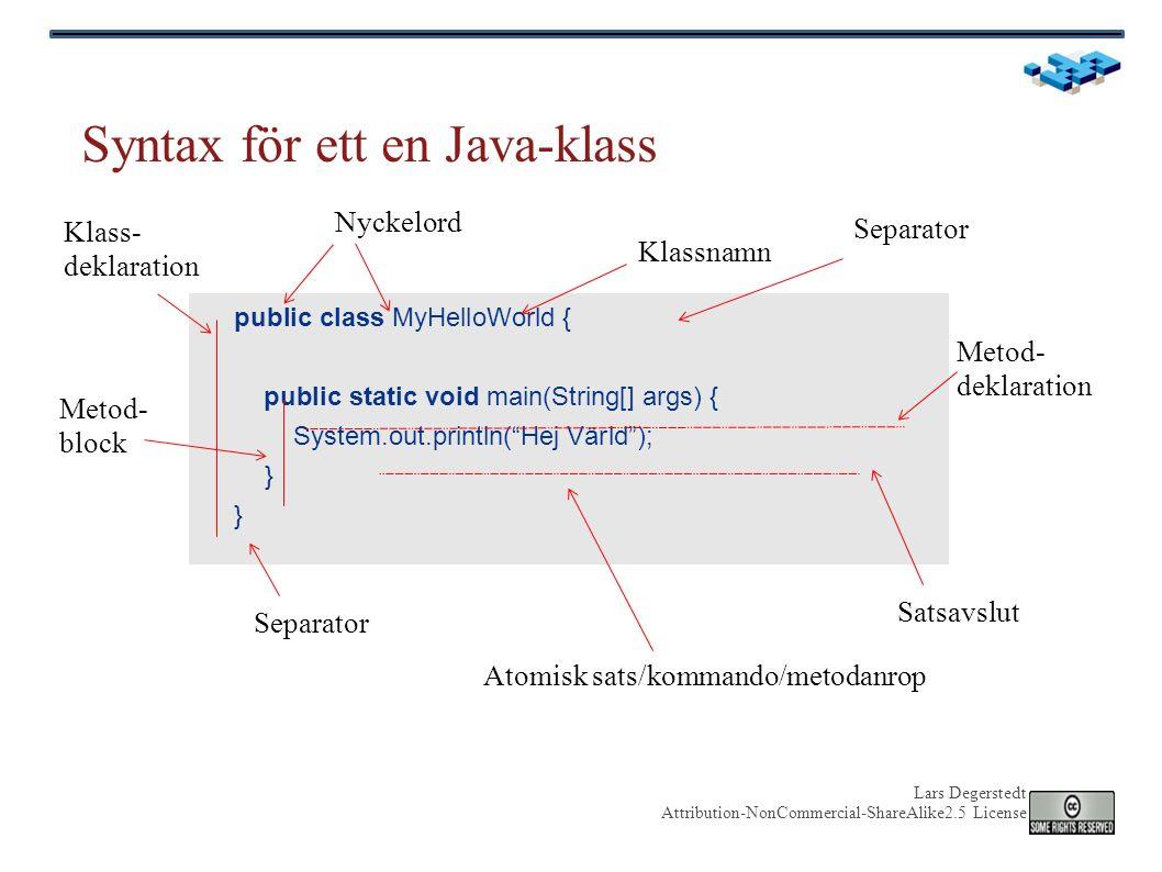 Lars Degerstedt Attribution-NonCommercial-ShareAlike2.5 License Exempel till på filhantering med File public static void main(String[] args) { String name = System.getProperty( user.dir ); System.out.println( Programmet körs i katalogen: + name); File dir = new File(name); File[] children = dir.listFiles(); if (children != null) { List files = new ArrayList (); List subdirectories = new ArrayList (); for (File file : children) { String fileName = file.getName(); if (file.isFile()) { files.add(fileName); } else { subdirectories.add(fileName); } System.out.println( Filer: + files); System.out.println( Subkataloger: + subdirectories); } Nuvarande arbetskatalog Läs in katalogen Välj ut vanliga filer