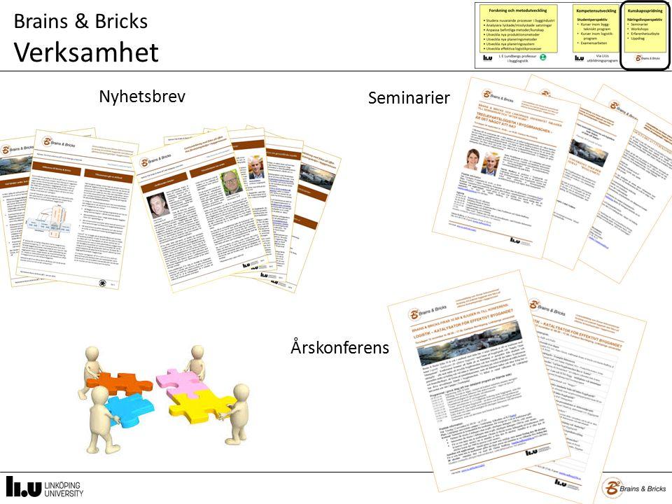 Brains & Bricks Verksamhet Nyhetsbrev Seminarier Årskonferens