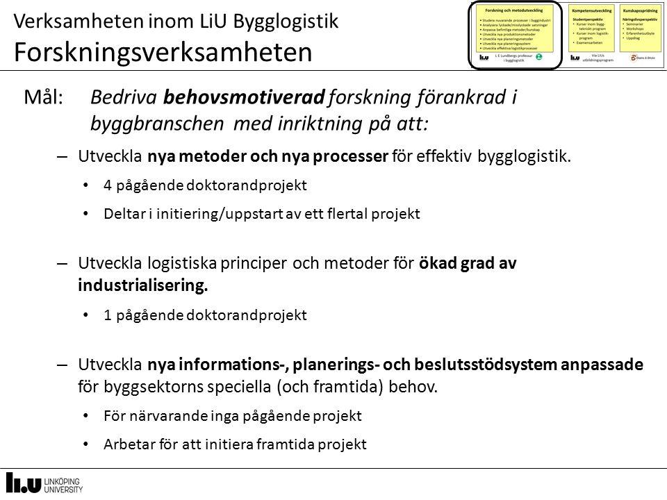 Verksamheten inom LiU Bygglogistik Forskningsverksamheten Mål: Bedriva behovsmotiverad forskning förankrad i byggbranschen med inriktning på att: – Utveckla nya metoder och nya processer för effektiv bygglogistik.