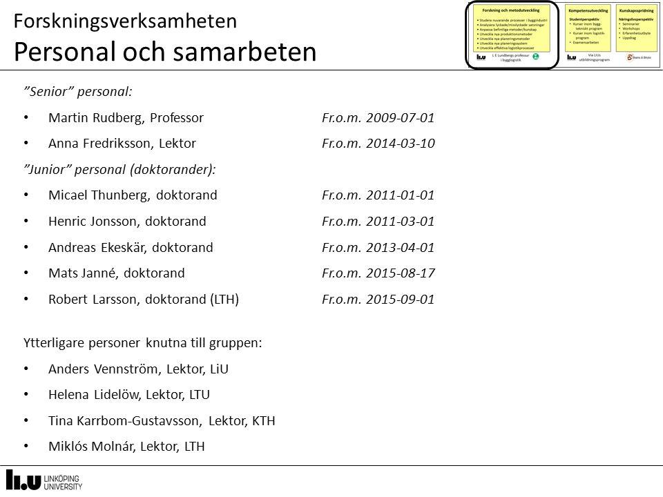 """Forskningsverksamheten Personal och samarbeten """"Senior"""" personal: Martin Rudberg, ProfessorFr.o.m. 2009-07-01 Anna Fredriksson, LektorFr.o.m. 2014-03-"""