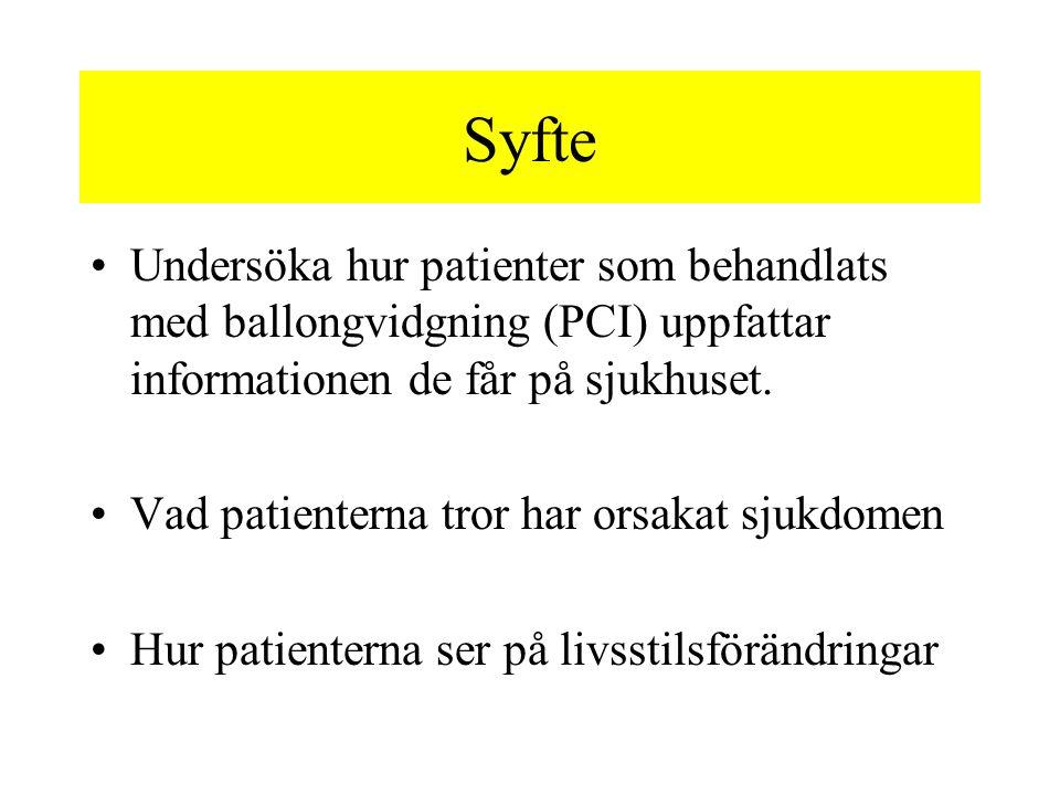 Syfte Undersöka hur patienter som behandlats med ballongvidgning (PCI) uppfattar informationen de får på sjukhuset. Vad patienterna tror har orsakat s