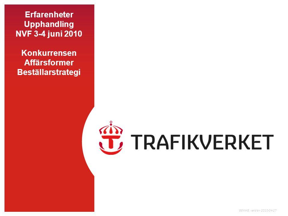 Erfarenheter Upphandling NVF 3-4 juni 2010 Konkurrensen Affärsformer Beställarstrategi BEMAG, version 2010-04-27