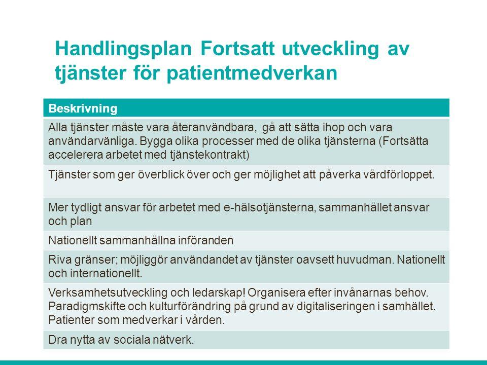 Handlingsplan Fortsatt utveckling av tjänster för patientmedverkan Beskrivning Alla tjänster måste vara återanvändbara, gå att sätta ihop och vara användarvänliga.