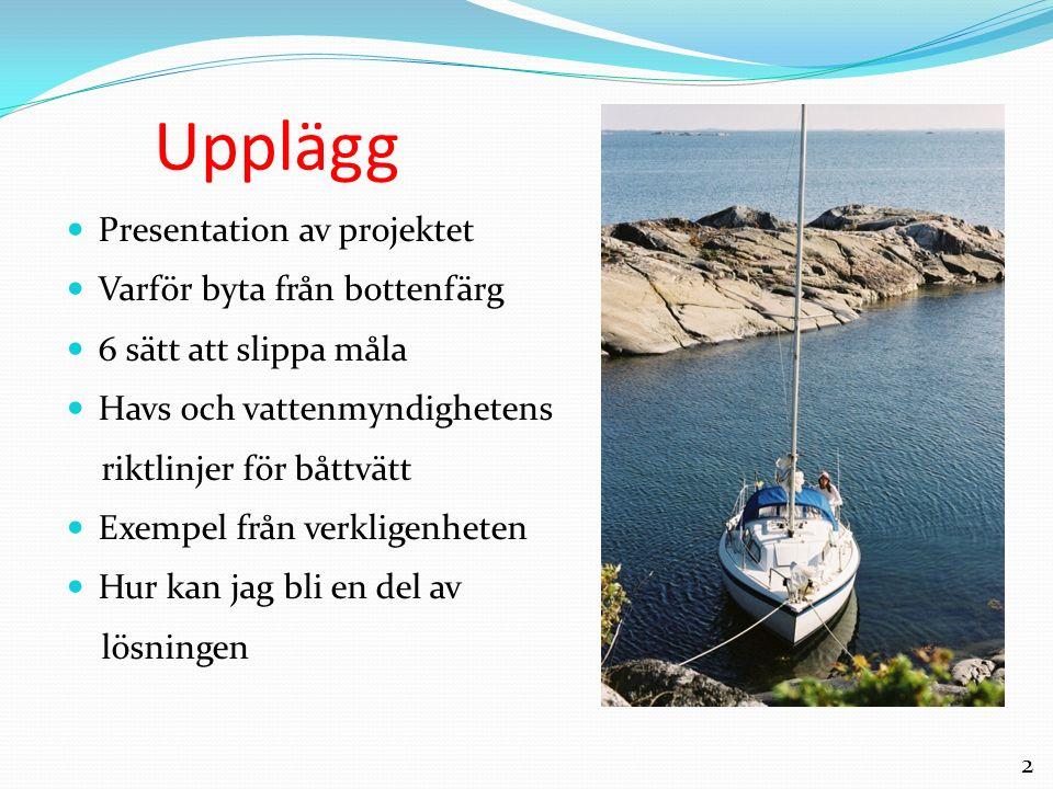 2 Upplägg Presentation av projektet Varför byta från bottenfärg 6 sätt att slippa måla Havs och vattenmyndighetens riktlinjer för båttvätt Exempel frå