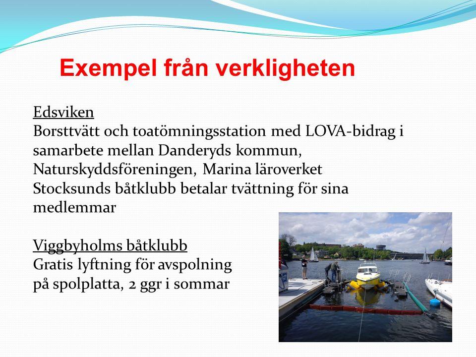 Exempel från verkligheten Edsviken Borsttvätt och toatömningsstation med LOVA-bidrag i samarbete mellan Danderyds kommun, Naturskyddsföreningen, Marin
