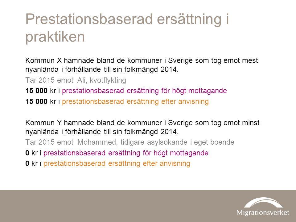 Prestationsbaserad ersättning i praktiken Kommun X hamnade bland de kommuner i Sverige som tog emot mest nyanlända i förhållande till sin folkmängd 2014.