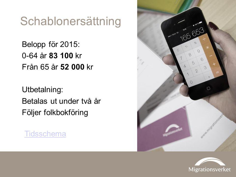 Schablonersättning Belopp för 2015: 0-64 år 83 100 kr Från 65 år 52 000 kr Utbetalning: Betalas ut under två år Följer folkbokföring Tidsschema