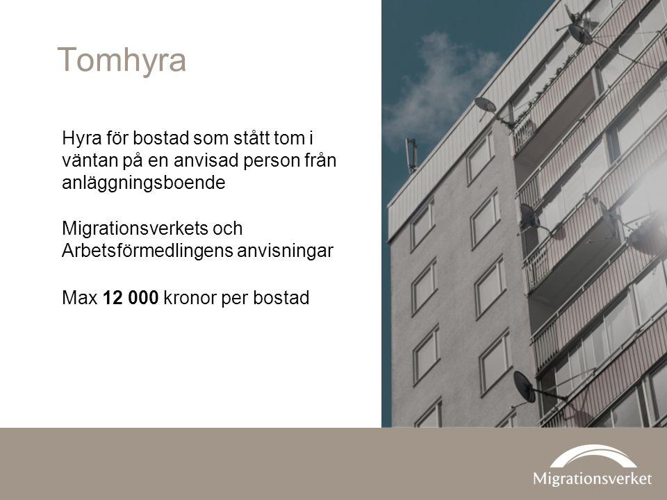 Tomhyra Hyra för bostad som stått tom i väntan på en anvisad person från anläggningsboende Migrationsverkets och Arbetsförmedlingens anvisningar Max 12 000 kronor per bostad