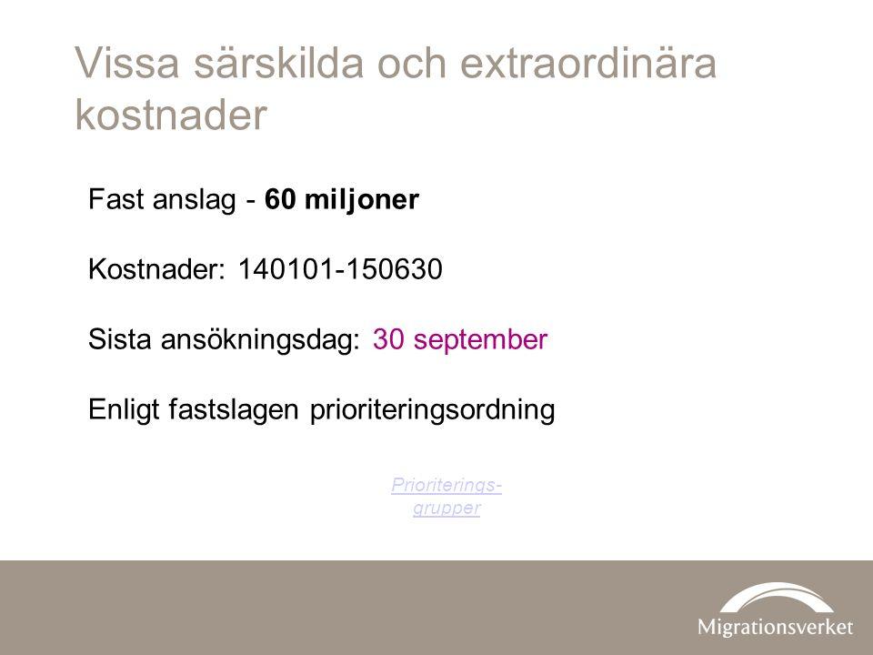Vissa särskilda och extraordinära kostnader Fast anslag - 60 miljoner Kostnader: 140101-150630 Sista ansökningsdag: 30 september Enligt fastslagen prioriteringsordning Prioriterings- grupper