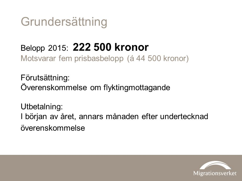 Grundersättning Belopp 2015: 222 500 kronor Motsvarar fem prisbasbelopp (á 44 500 kronor) Förutsättning: Överenskommelse om flyktingmottagande Utbetalning: I början av året, annars månaden efter undertecknad överenskommelse