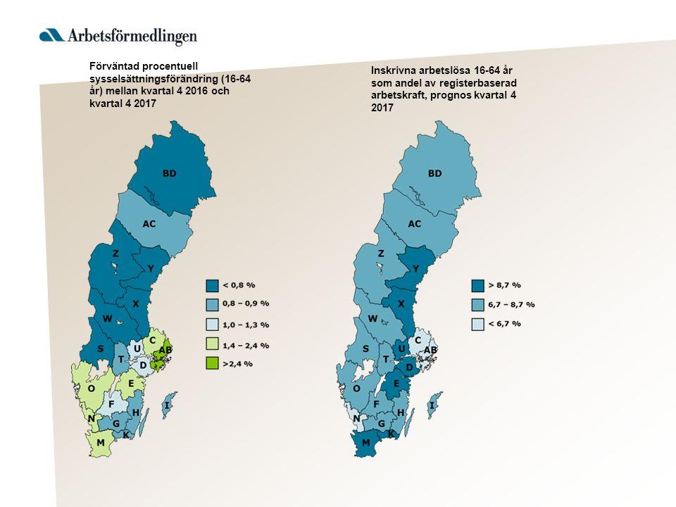 Sysselsättningsutvecklingen 2016 (2017) Jord & Skog Industri Bygg Privata tjänster Offentliga tjänster Sammantaget + 400 (+200)
