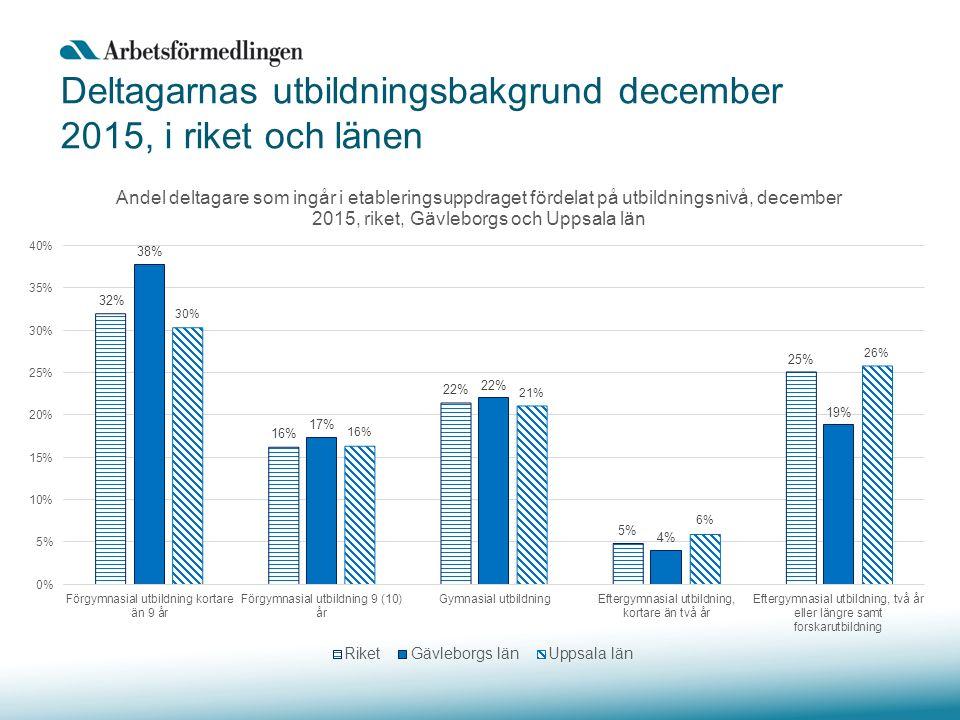 Deltagarnas utbildningsbakgrund december 2015, i riket och länen
