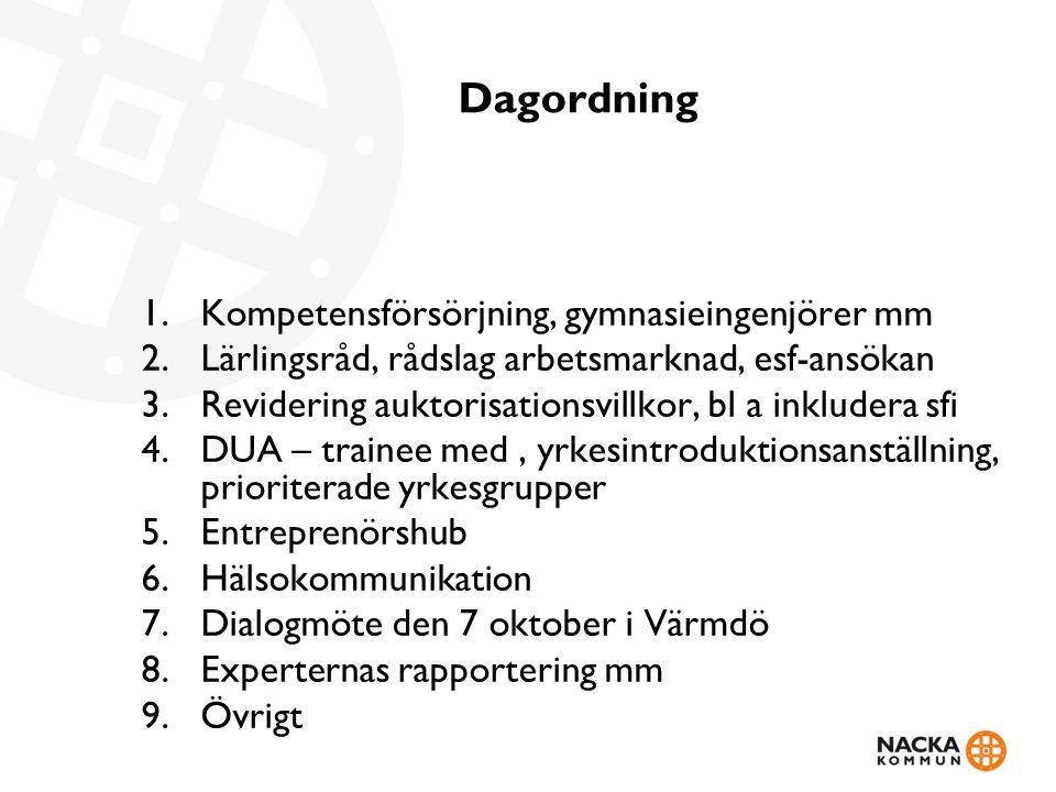 Dagordning 1.Kompetensförsörjning, gymnasieingenjörer mm 2.Lärlingsråd, rådslag arbetsmarknad, esf-ansökan 3.Revidering auktorisationsvillkor, bl a inkludera sfi 4.DUA – trainee med, yrkesintroduktionsanställning, prioriterade yrkesgrupper 5.Entreprenörshub 6.Hälsokommunikation 7.Dialogmöte den 7 oktober i Värmdö 8.Experternas rapportering mm 9.Övrigt