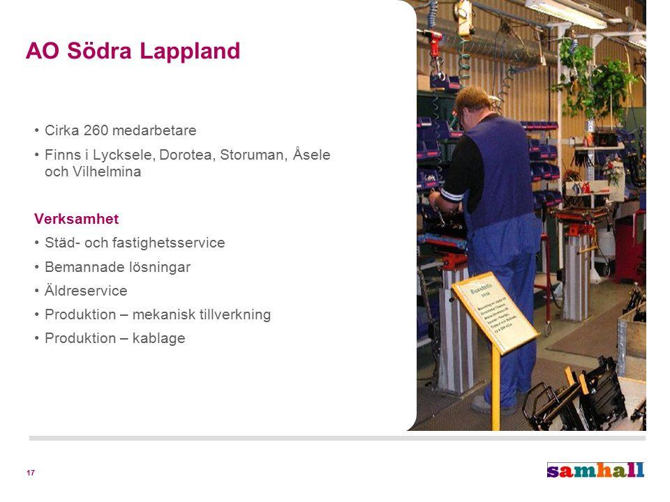 17 Cirka 260 medarbetare Finns i Lycksele, Dorotea, Storuman, Åsele och Vilhelmina Verksamhet Städ- och fastighetsservice Bemannade lösningar Äldreser