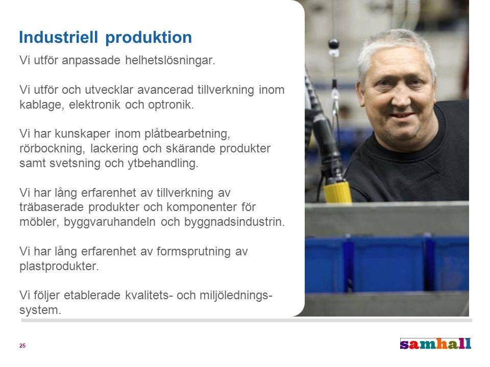 25 Industriell produktion Vi utför anpassade helhetslösningar. Vi utför och utvecklar avancerad tillverkning inom kablage, elektronik och optronik. Vi