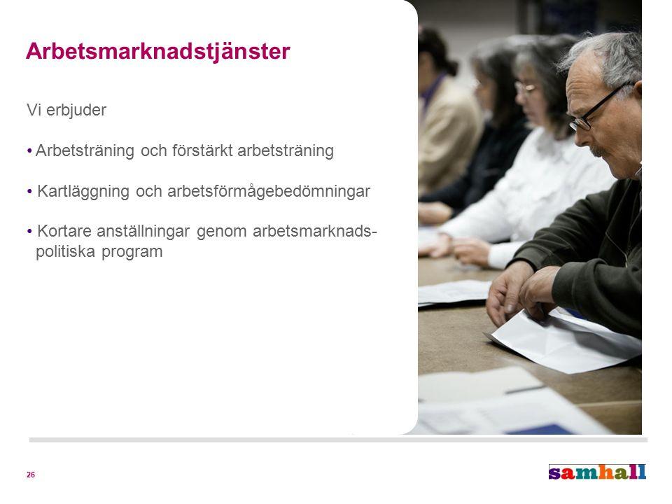 26 Arbetsmarknadstjänster Vi erbjuder Arbetsträning och förstärkt arbetsträning Kartläggning och arbetsförmågebedömningar Kortare anställningar genom arbetsmarknads- politiska program