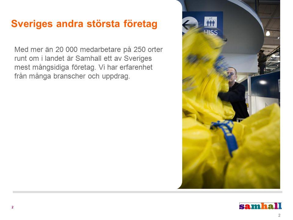 2 Med mer än 20 000 medarbetare på 250 orter runt om i landet är Samhall ett av Sveriges mest mångsidiga företag.