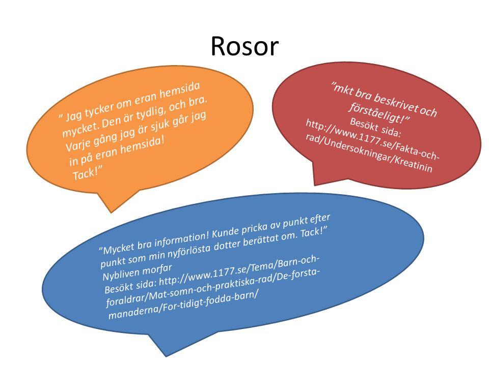 Rosor mkt bra beskrivet och förståeligt! Besökt sida: http://www.1177.se/Fakta-och- rad/Undersokningar/Kreatinin Mycket bra information.