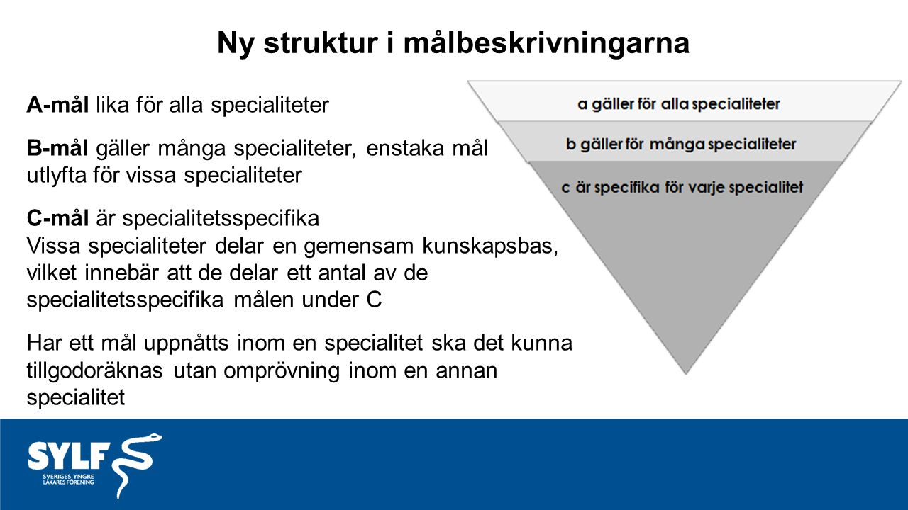 Ny struktur i målbeskrivningarna A-mål lika för alla specialiteter B-mål gäller många specialiteter, enstaka mål utlyfta för vissa specialiteter C-mål är specialitetsspecifika Vissa specialiteter delar en gemensam kunskapsbas, vilket innebär att de delar ett antal av de specialitetsspecifika målen under C Har ett mål uppnåtts inom en specialitet ska det kunna tillgodoräknas utan omprövning inom en annan specialitet