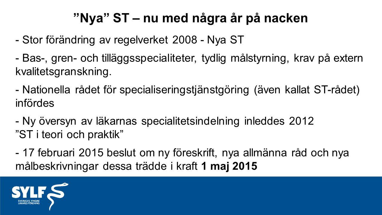 - Stor förändring av regelverket 2008 - Nya ST - Bas-, gren- och tilläggsspecialiteter, tydlig målstyrning, krav på extern kvalitetsgranskning.
