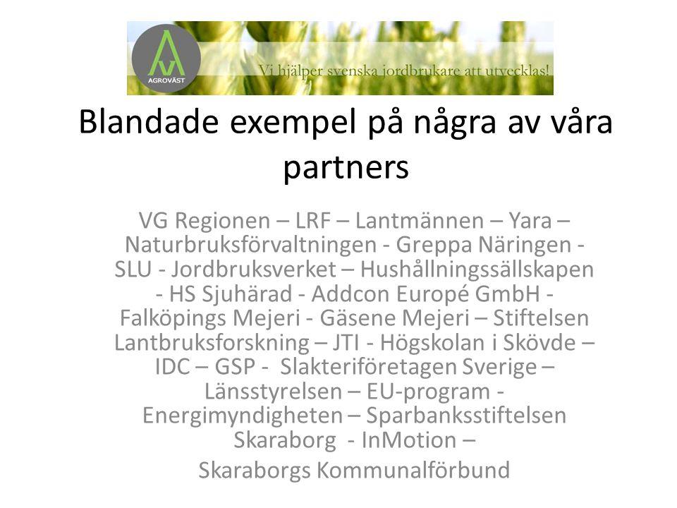 Blandade exempel på några av våra partners VG Regionen – LRF – Lantmännen – Yara – Naturbruksförvaltningen - Greppa Näringen - SLU - Jordbruksverket – Hushållningssällskapen - HS Sjuhärad - Addcon Europé GmbH - Falköpings Mejeri - Gäsene Mejeri – Stiftelsen Lantbruksforskning – JTI - Högskolan i Skövde – IDC – GSP - Slakteriföretagen Sverige – Länsstyrelsen – EU-program - Energimyndigheten – Sparbanksstiftelsen Skaraborg - InMotion – Skaraborgs Kommunalförbund