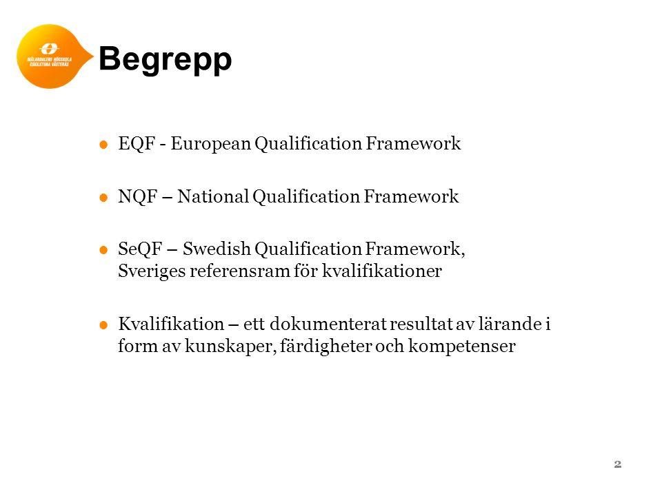 Begrepp ●EQF - European Qualification Framework ●NQF – National Qualification Framework ●SeQF – Swedish Qualification Framework, Sveriges referensram för kvalifikationer ●Kvalifikation – ett dokumenterat resultat av lärande i form av kunskaper, färdigheter och kompetenser 2