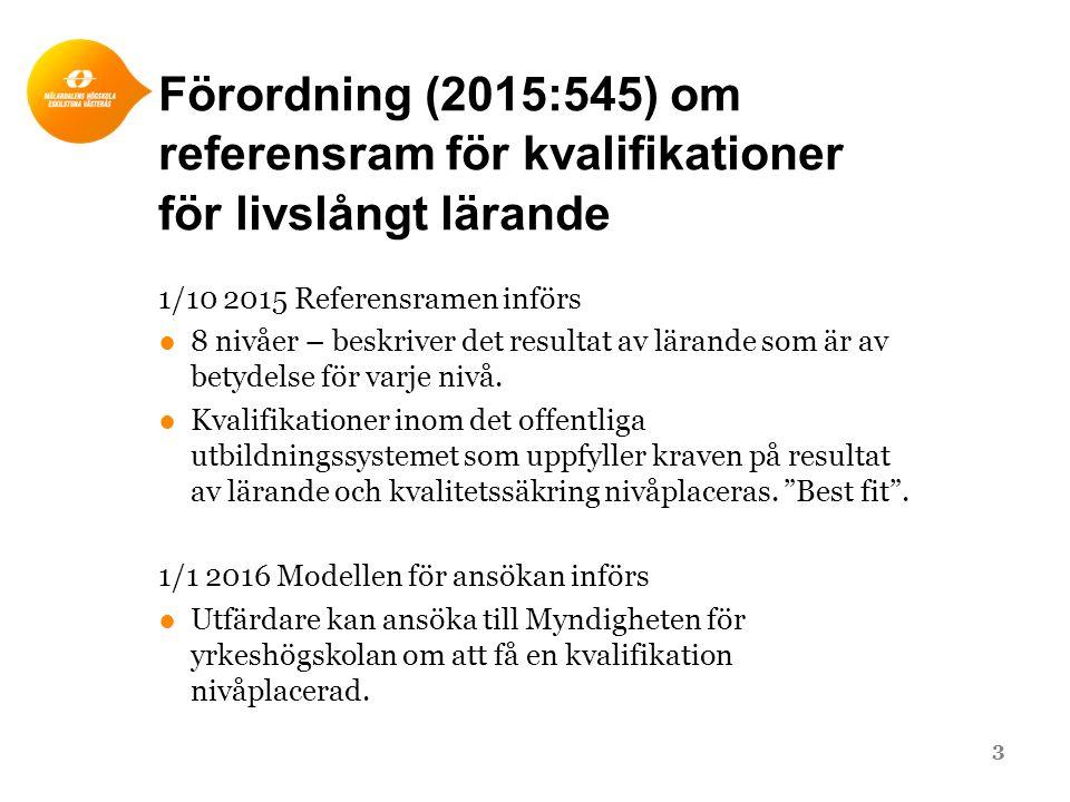 Förordning (2015:545) om referensram för kvalifikationer för livslångt lärande 1/10 2015 Referensramen införs ●8 nivåer – beskriver det resultat av lä