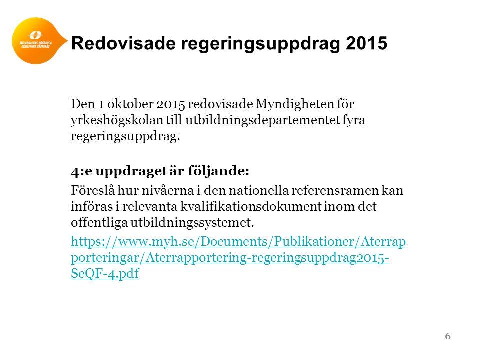 Förslag ●Myndigheten för yrkeshögskolan föreslår att det ska bli obligatoriskt att hänvisa till Sveriges referensram för kvalifikationer i examensbevis eller motsvarande dokument inom det offentliga utbildningssystemet.