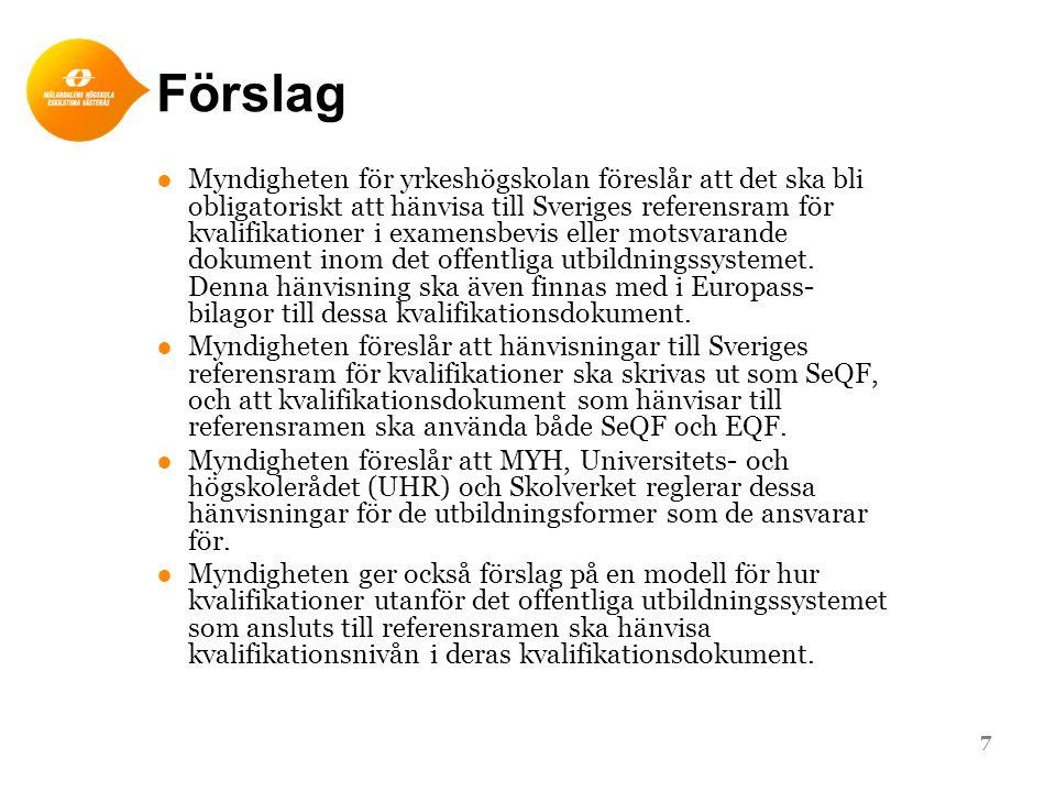 Förslag ●Myndigheten för yrkeshögskolan föreslår att det ska bli obligatoriskt att hänvisa till Sveriges referensram för kvalifikationer i examensbevi