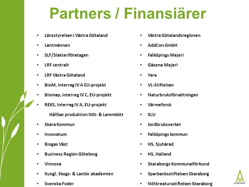 Partners / Finansiärer Länsstyrelsen i Västra Götaland Lantmännen SLF/Slakteriföretagen LRF centralt LRF Västra Götaland BioM, Interreg IV A EU-projekt Biomap, Interreg IV C, EU-projekt REKS, Interreg IV A, EU-projekt Hållbar produktion Nöt- & Lammkött Skara Kommun Innovatum Biogas Väst Business Region Göteborg Vinnova Kungl.