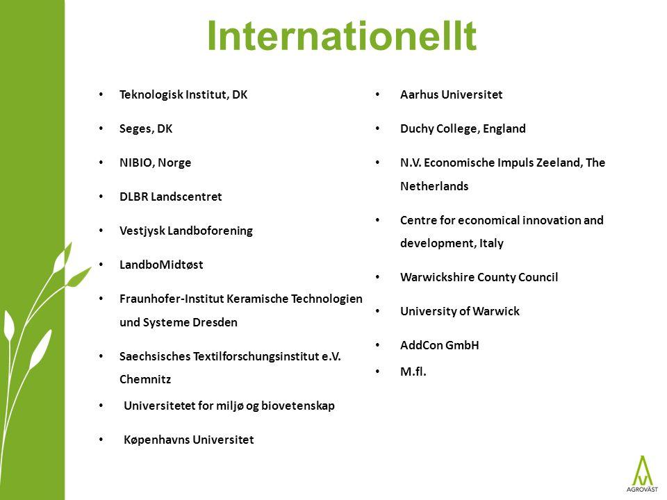 Internationellt Teknologisk Institut, DK Seges, DK NIBIO, Norge DLBR Landscentret Vestjysk Landboforening LandboMidtøst Fraunhofer-Institut Keramische