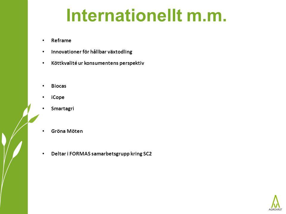 Internationellt m.m. Reframe Innovationer för hållbar växtodling Köttkvalité ur konsumentens perspektiv Biocas iCope Smartagri Gröna Möten Deltar i FO