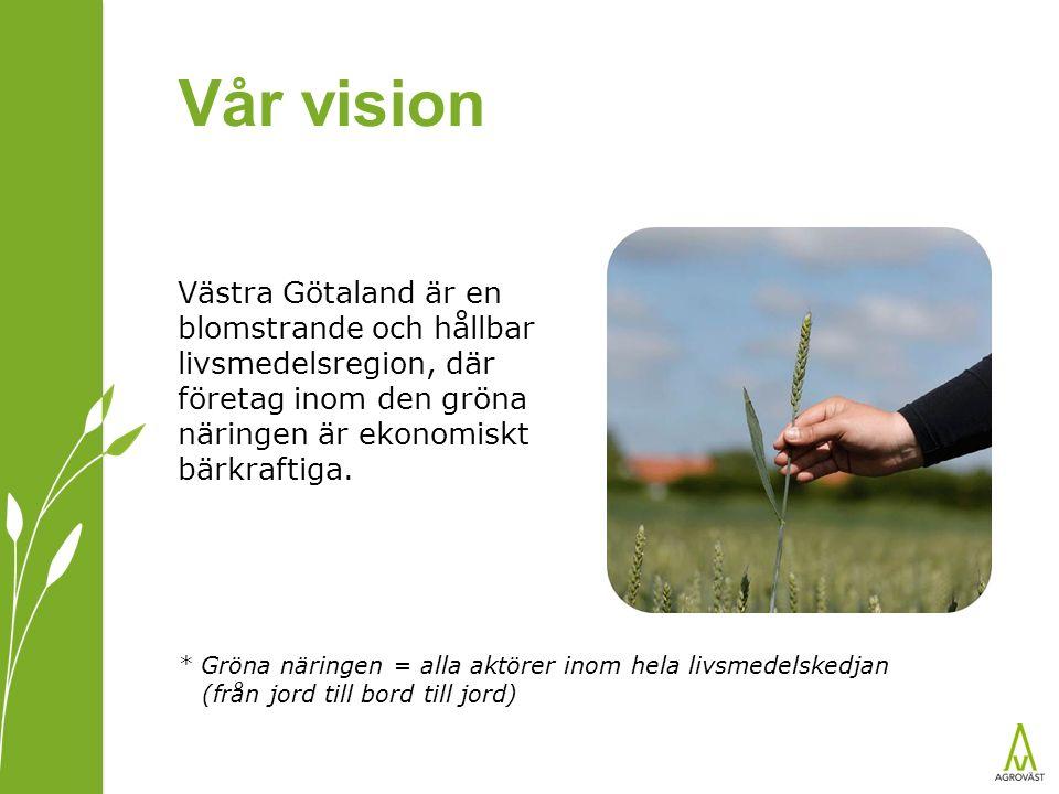 Vår vision Västra Götaland är en blomstrande och hållbar livsmedelsregion, där företag inom den gröna näringen är ekonomiskt bärkraftiga. * Gröna näri