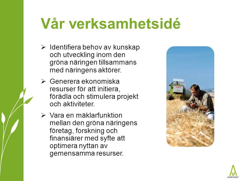 Vår verksamhetsidé  Identifiera behov av kunskap och utveckling inom den gröna näringen tillsammans med näringens aktörer.  Generera ekonomiska resu