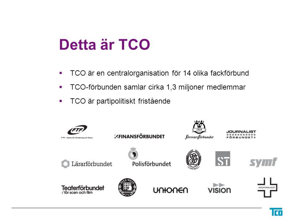 Detta är TCO  TCO är en centralorganisation för 14 olika fackförbund  TCO-förbunden samlar cirka 1,3 miljoner medlemmar  TCO är partipolitiskt fristående