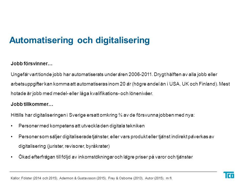 Automatisering och digitalisering Jobb försvinner… Ungefa ̈ r vart tionde jobb har automatiserats under a ̊ ren 2006-2011.