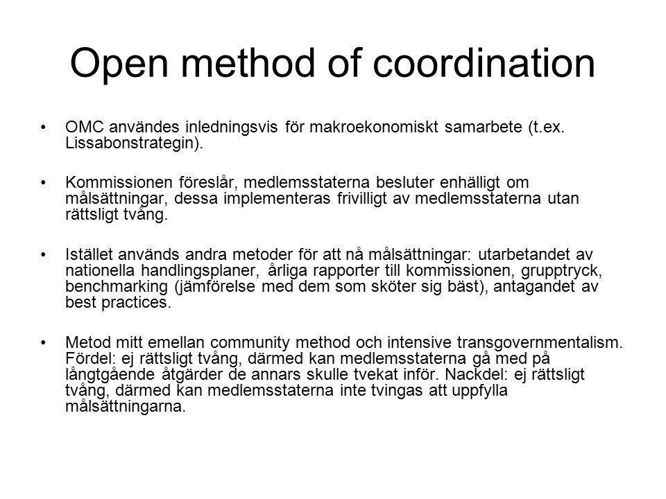 Open method of coordination OMC användes inledningsvis för makroekonomiskt samarbete (t.ex.