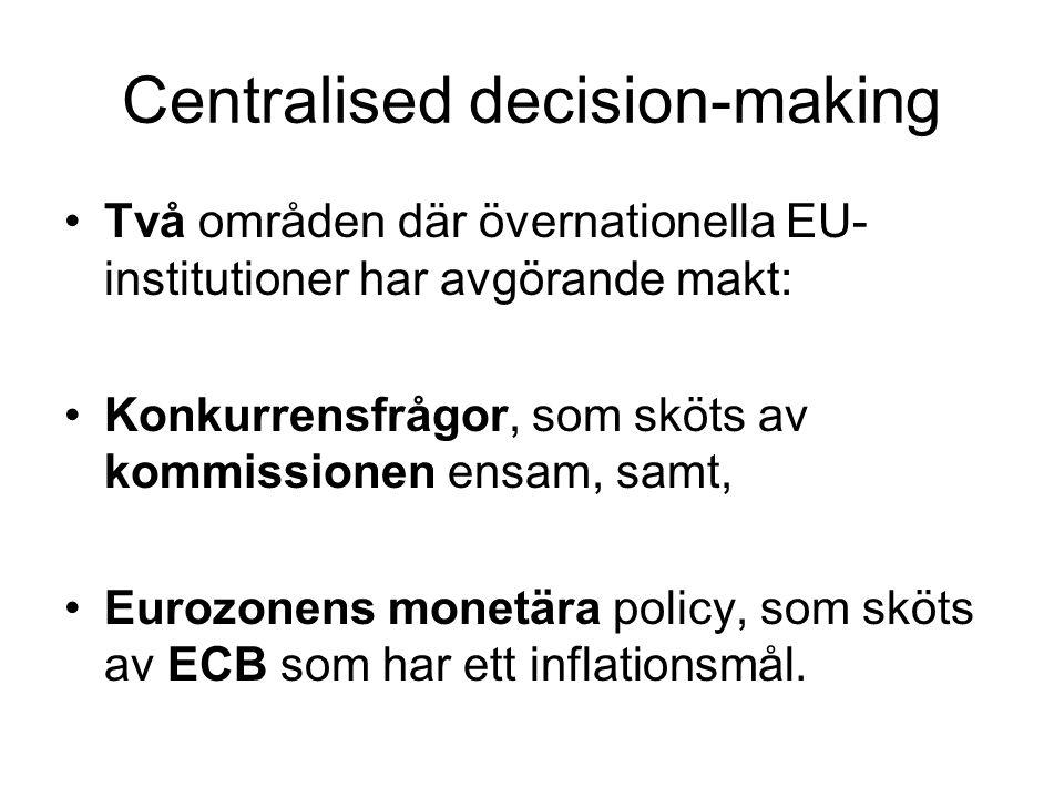 Centralised decision-making Två områden där övernationella EU- institutioner har avgörande makt: Konkurrensfrågor, som sköts av kommissionen ensam, samt, Eurozonens monetära policy, som sköts av ECB som har ett inflationsmål.