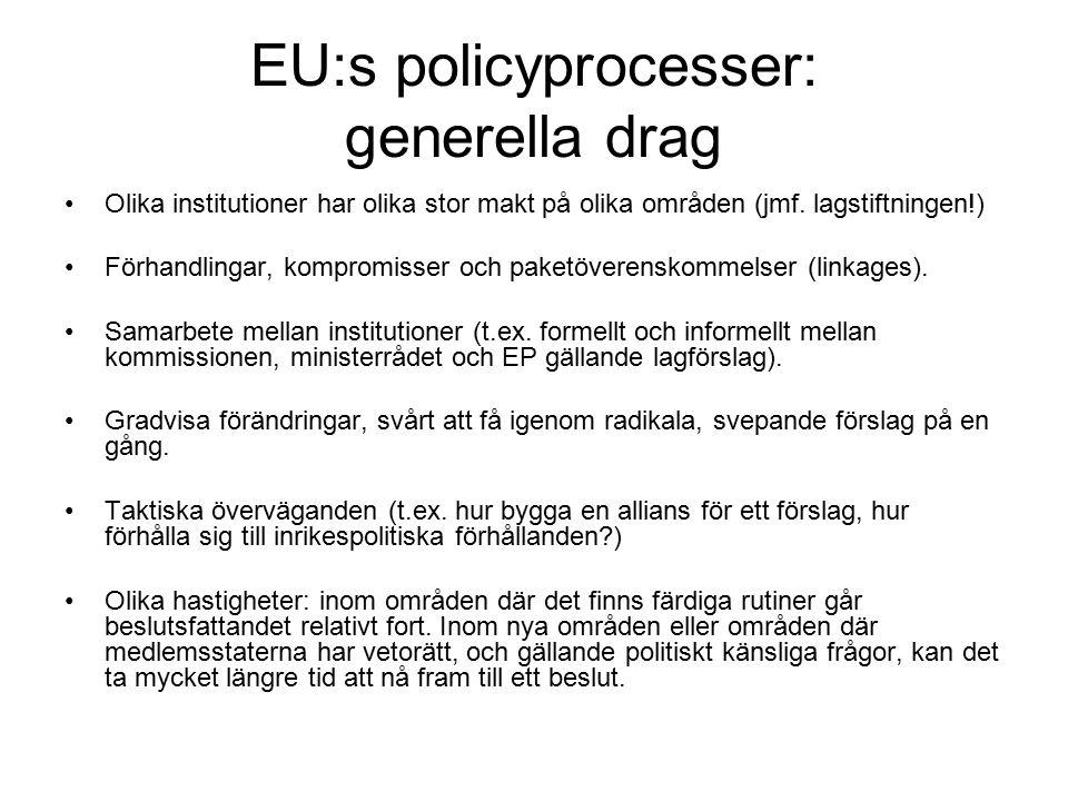 EU:s policyprocesser: generella drag Olika institutioner har olika stor makt på olika områden (jmf.