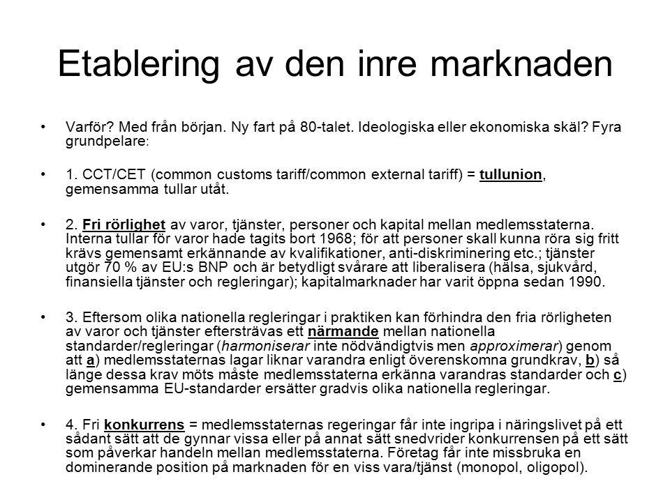 Etablering av den inre marknaden Varför. Med från början.