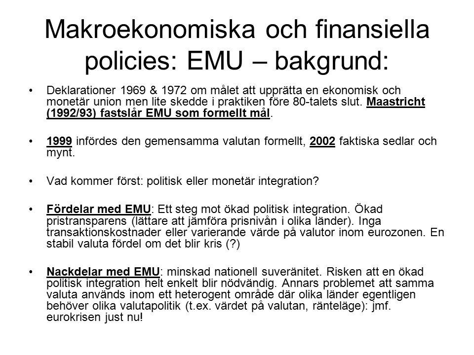 Makroekonomiska och finansiella policies: EMU – bakgrund: Deklarationer 1969 & 1972 om målet att upprätta en ekonomisk och monetär union men lite skedde i praktiken före 80-talets slut.