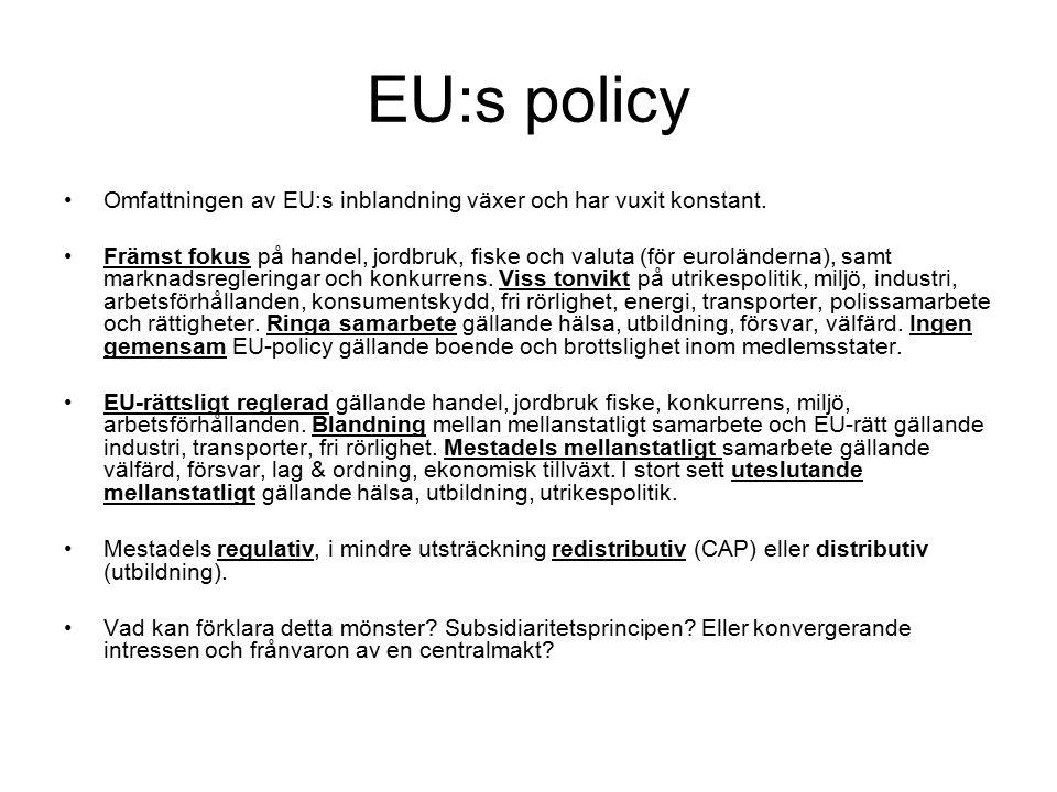 EU:s policy Omfattningen av EU:s inblandning växer och har vuxit konstant.
