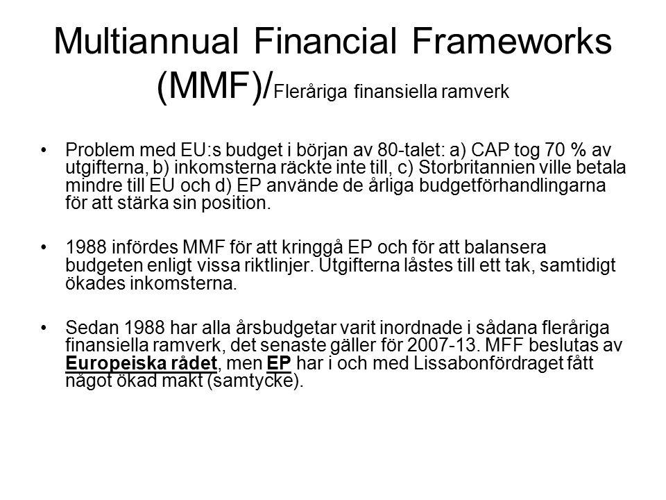 Multiannual Financial Frameworks (MMF)/ Fleråriga finansiella ramverk Problem med EU:s budget i början av 80-talet: a) CAP tog 70 % av utgifterna, b) inkomsterna räckte inte till, c) Storbritannien ville betala mindre till EU och d) EP använde de årliga budgetförhandlingarna för att stärka sin position.