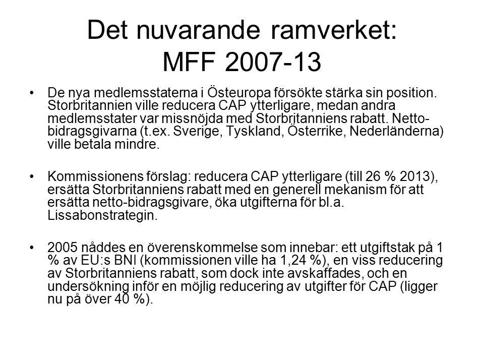 Det nuvarande ramverket: MFF 2007-13 De nya medlemsstaterna i Östeuropa försökte stärka sin position.